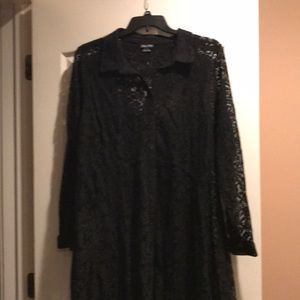 Woman's black lace button down blouse